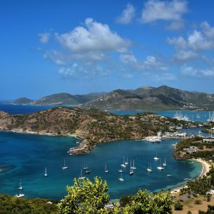 Elevated View of English and Falmouth Harbours in English Harbour, Antigua - Encircle Photos