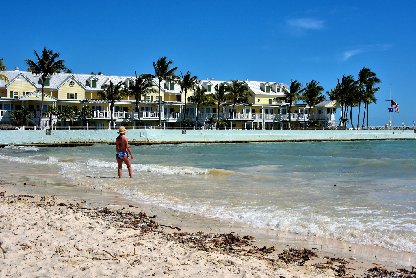 Woman Wading At South Beach In Key West