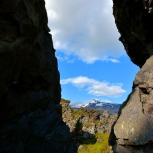 Snæfellsjökull Framed by Cliff at Djúpalónssandur on Snæfellsnes Peninsula, Iceland - Encircle Photos