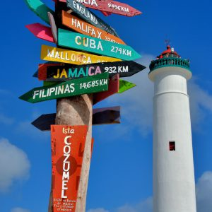 Lighthouse and Signpost at Punta Sur near San Miguel, Cozumel, Mexico - Encircle Photos