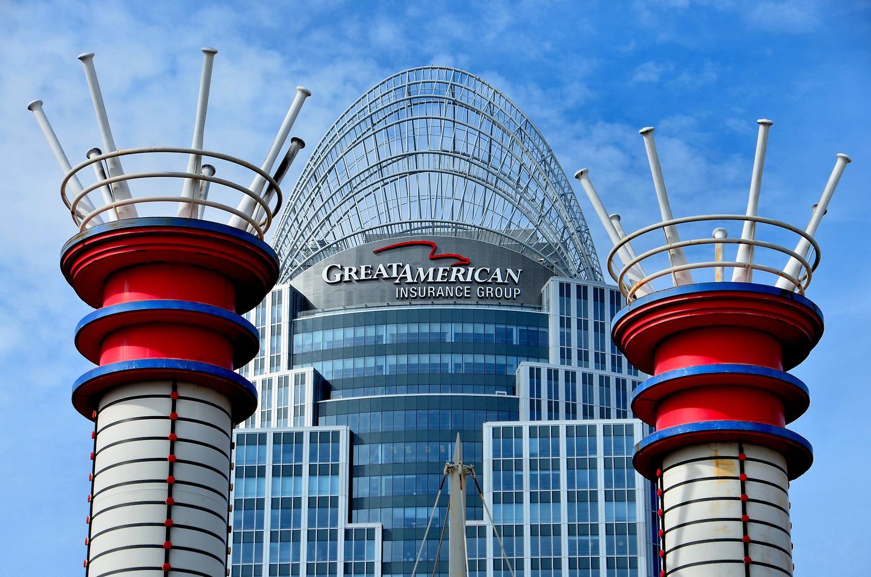 Great American Insurance Building And Ball Park Smokestacks In Cincinnati Ohio Encircle Photos
