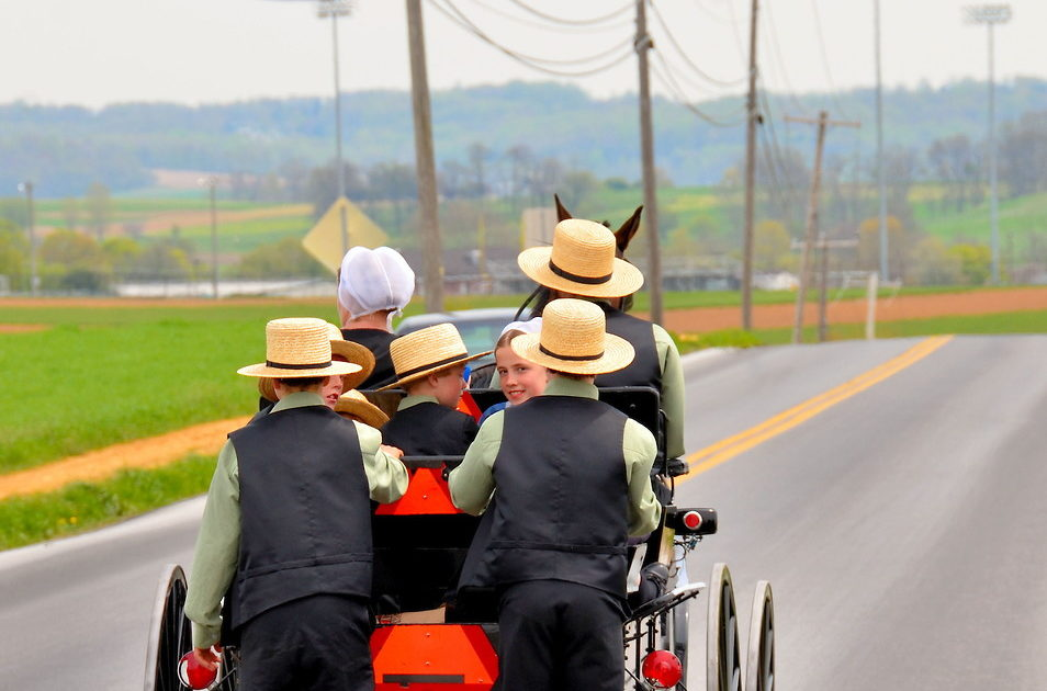Amish family outing in Lancaster County.