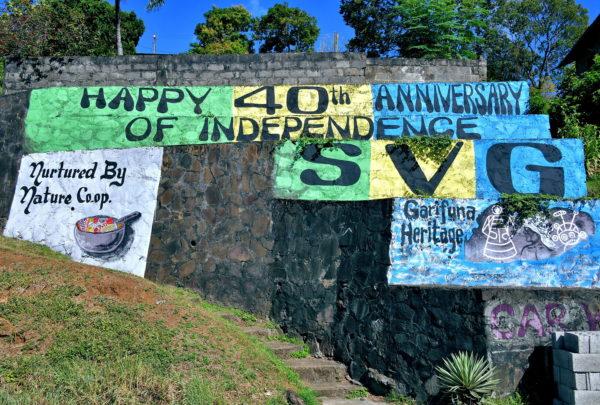 Independence Anniversary Sign in Campden Park, Saint Vincent - Encircle Photos