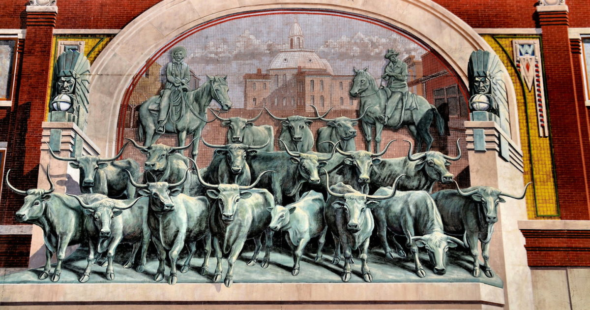 Chrisholm Trail Longhorn Cattle Drive Mural Near Stockyards In Fort Worth Texas Encircle Photos