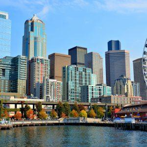 Downtown Skyline and Ferris Wheel in Seattle, Washington - Encircle Photos
